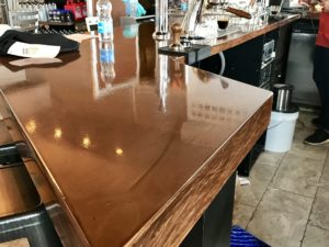 brass metallic countertop